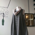 Gingham Italian wool dress, with pockets $238, knitted necklace $98