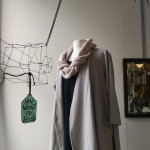 Cotton trans-seasonal coat in oyster $198 (limited sizes left), knitted necklaces available in assorted colours $78-$98
