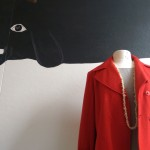 Italian wool double breasted coat in burnt red $289